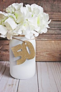 50 anniversary Birthday Decorations made out of glitter card stock other color options available each measure 2 x 2 these make the perfect addition to any DIY cente Rustic Anniversary Party, 50th Wedding Anniversary Decorations, 50th Birthday Party Decorations, Rustic Birthday, Anniversary Parties, Anniversary Ideas, Moms 50th Birthday, Grandma Birthday, Happy Birthday