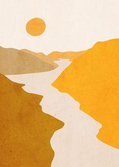 Minimal Art Landscape 7 Mini Art Print by ThingDesign - Without Stand - 3 x 4 Painting Inspiration, Art Inspo, Aesthetic Art, Aesthetic Painting, Aesthetic Black, Aesthetic Vintage, Minimalist Art, Diy Art, Watercolor Art