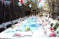 Train birthday party table