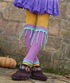 purple PIXIE LEG WARMERS with beaded fringe