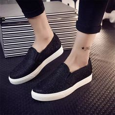 2015 fashion women casual flat shoes women's spring autumn sequined canvas shoes for women loafers alpargatas sapatos femininos-in women's casual shoes from Best Casual Shoes, Casual Sneakers, Sneakers Fashion, Fashion Shoes, Women's Casual, Summer Sneakers, Casual Loafers, Moda Sneakers, Sneakers Mode