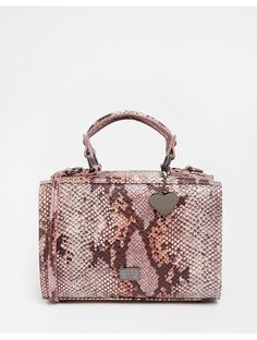 Marc B Mini May Box Bag in Pink Iridescent Snake - Pink