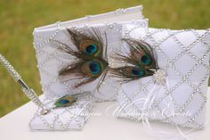 Guestbook, Pen and Ring Pillow Set........Rhinestone  Pretty Peacock, Wedding Guest book, rhinestone wedding book, wedding book, wedding