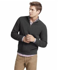 Izod Men's Tipped Shaker Cotton Quarter Zip Black Heather Sweater