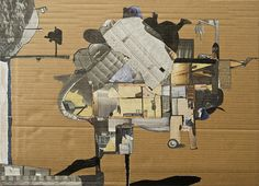 Fanny Allié. From Above, 2015; collages and mixed-media on cardboard; 28 x 21 in. Courtesy of the Artist.