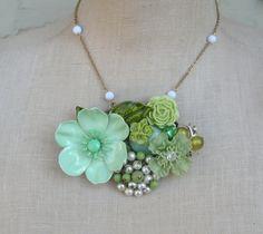 Mint Olive Vintage Brooch Green Collage Statement necklace Sage Enamel Flower Power OOAK St Patricks Day
