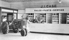 J I Case VAC in dealer show room Case Tractors, Old Tractors, Antique Trucks, Vintage Farm, Farm Life, Farming, The Past, Advertising, Room