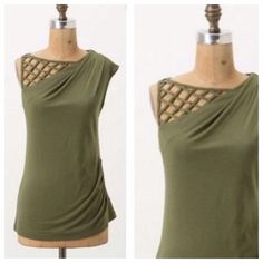 Gorgeous Lattice Cut Vanessa Virginia Olive Top Lovely piece! Worn a handful of times, in great used condition. Size Medium, by Vanessa Virginia, from Anthropologie. Anthropologie Tops Tank Tops