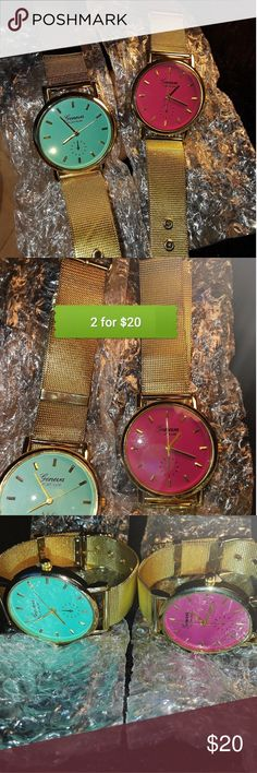 2 for $18 PINK & BLUE GENEVA WATCHES!!!! 2 FOR $18 GENEVA PLATINUM WATCHES FOR WOMEN!!!!  COLORS INCLUDED:  -PINK -AQUA BLUE  features a stunning BLING GOLD Stainless Steel band for LUXURY fashion!!!!!   BRAND NEW!!!  DONT MISS OUT ON THIS DEAL.  FAST SHIPPING!! SHIPS IN 1 DAY!!! Geneva Platinum Accessories