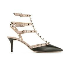 Valentino Garavani Black leather Rockstud Strappy Pumps   Featuring a pointed toe, a slingback ankle strap, a strappy design, gold tone Rockstud embellishments and a brand embossed insole.  $885.00