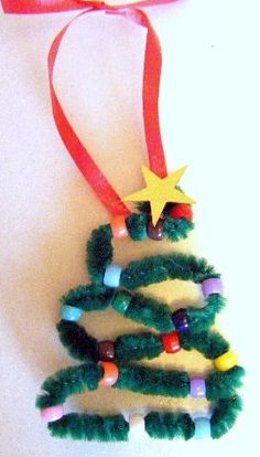 Kids Christmas Crafts - Pipe Cleaner Christmas Tree Ornament