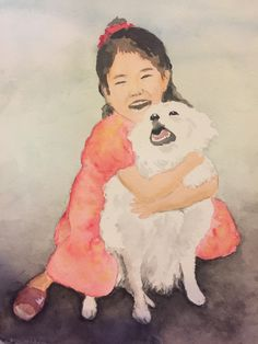 A happy memory - watercolor of a girl and her pet dog