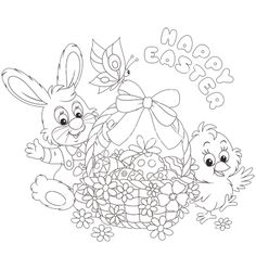 Easter card with bunny and chick vector