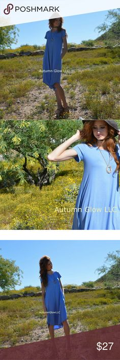 Blue midi dress with pocket Midi dress Short sleeve Dress with pockets Soft 95%rayon 5%spandex 7th ray Dresses Midi