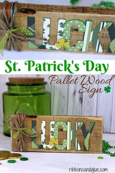 DIY St Patricks Day Ideas - Lucky Pallet Sign - Food and Best Recipes, Decorations and Home Decor, Party Ideas - Cupcakes, Drinks, Festive St Patrick Day Parties With these Easy, Quick and Cool Crafts and DIY Projects http://diyjoy.com/st-patricks-day-ideas