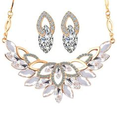 Wedding Gold Color 3 Color Crystal Flower Necklace Jewelry Sets