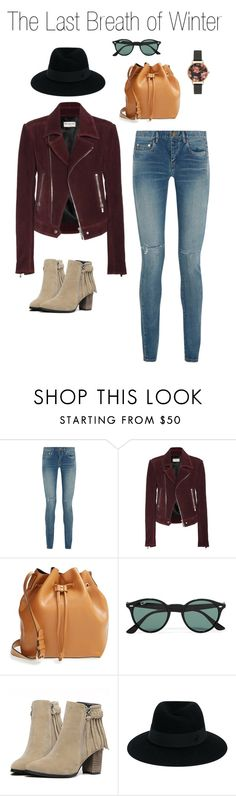 """""""The Last Breath of Winter"""" by jenny-145 on Polyvore featuring Yves Saint Laurent, Balenciaga, Sole Society, Ray-Ban, Maison Michel and Olivia Burton"""