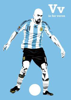 """由插画师Steve Welsh的「F就是足球」系列插画有感而发,画一下将射门和传球演绎到极致的两个男人(Crespo+Veron)#最好的9号+11号#By the illustrator Steve Welsh the """"F is for Football"""" series of illustrations, draw the shooting and passing to deduce acme of two men (Crespo + Veron) # best No. 9 +11 #"""