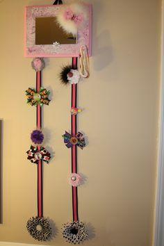 Pink Paisley Bow/Headband Holder