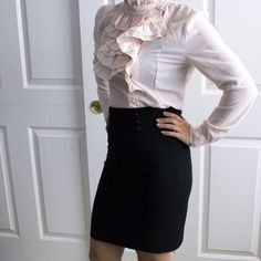 Ruffles light pink blouse with pearl buttons Light pink blouse, perfect when paired with a pencil skirt Tops Blouses