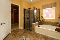 no yellow walls, but I like the tile and tub surround