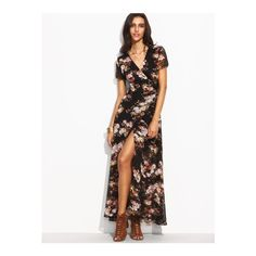 SheIn(sheinside) Florals Self Tie Waist High Split Wrap Dress ($27) ❤ liked on Polyvore featuring dresses, multicolor, short-sleeve maxi dresses, maxi dresses, wrap dress, floral dresses and white a line dress