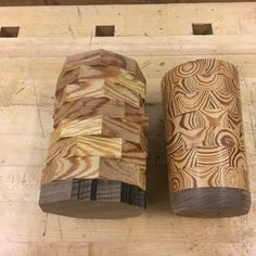 Woodworking Techniques One glued, one rough turned - Learn Woodworking, Woodworking Techniques, Popular Woodworking, Woodworking Plans, Woodworking Projects, Lathe Projects, Woodworking Patterns, Small Wood Projects, Wood Turning Projects