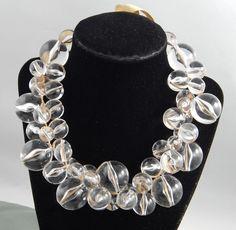 Estate Haute Couture Clear Lucite Bubble Bead Statement Adj Ribbon Tie Necklace