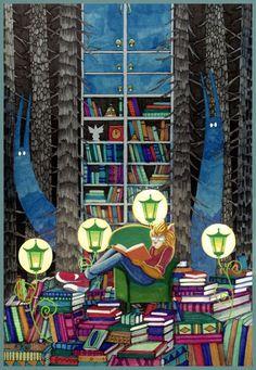 Cada personaje tiene su biblioteca (ilustración de Yanadhyana)