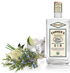 Farmer's Gin - Small batch organic gin made from US grown USDA certified organic grains and botanicals. Botanicals include Lemon Grass, Angelica Root, Elderflower, Coriander, and Lemon Grass. $27 at Bevmo.