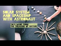 Solar system and spaceship with astronaut Driftwood Crafts, Cardboard Paper, Art Activities For Kids, Space And Astronomy, Space Shuttle, Space Crafts, Solar System, Spaceship, Painted Rocks