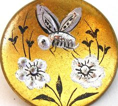 LG Antique BEE BUTTON 1800s Victorian Insect with flowers,