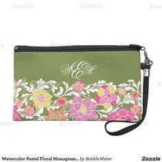 Watercolor Pastel Floral Monogram Wristlet