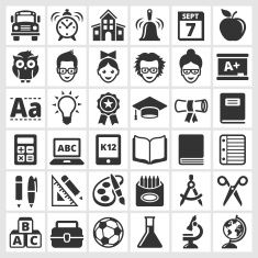 education and school royalty free vector icon set vector art illustration
