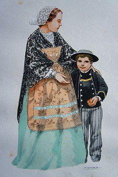 COSTUME BRETON DE  DOUARNENEZ 1906 PAR LHUER, GRAVURE REHAUSSEE AU POCHOIR. 1943