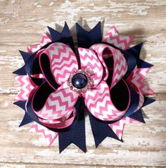 Navy Blue and Hot Pink Chevron OTT Loopie Hair Bow - Matching Pearl - Perfect Fit for All Ages - Baby Headband, Birthdays, School Uniforms on Etsy, $9.75