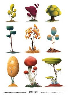 30 Beautiful Tree Drawings and creative Art Ideas from top artists - Illustration - Arte Environment Concept, Environment Design, Game Environment, Prop Design, Game Design, Logo Design, Design Ideas, Design Art, Art And Illustration