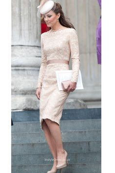 simple lace boat neck long sleeves knee length bridesmaid dress