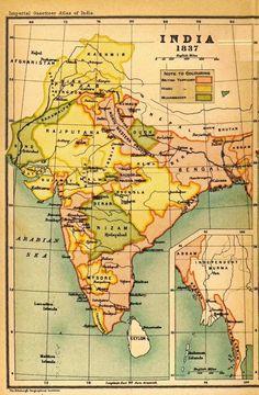 Carte d'Inde sur 1837. L'Inde est mon pays favorit parce que je suis né la!