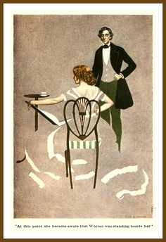 """""""At this point she became aware that Warner was standing beside her."""" (1908) Fadeaway Girl by C. Coles Phillips, probable book illustration"""