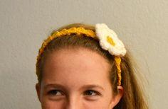 Mustard Yellow Crochet Headband with Flower by HermitsOfAfton