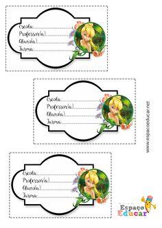 Lindas etiquetas da Sininho Tinkerbell para imprimir - Etiqueta escolar grátis para imprimir - ESPAÇO EDUCAR
