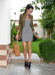 7d5d573a0b32 Striped dress with an army green jacket. Michael Kors ...