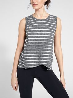 The stripe Linen Tank is comfortable in the heat and humidity plus offers full coverage with a touch of style