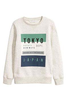 Sweat-shirt avec impression - Beige clair/Tokyo - ENFANT | H&M BE