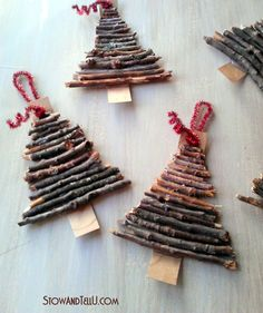 Christmas tree ornaments made from twigs and yard clippings.  Love the rustic simplicity.