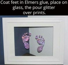 Framedcool craft for baby glitter baby footprints Baby Life Hacks, Diy Bebe, Future Mom, Foto Baby, Baby Footprints, Little Doll, Baby Art, Baby Feet Art, Everything Baby