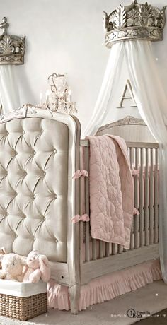 Gorgeous Nursery Decor Idea! See our Cribs http://stores.waughinteriordesigns.com/custom-designed-cribs-by-afk-french-panel-upholstered-crib/