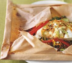 Asian-Style Halibut in Parchment | Incorporate more seafood into your diet with this firm white fish—it's mild enough to pair with just about anything.