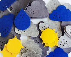 Weather coasters - mixed wool felt coasters - choose your own set of 4 by PygmyCloud on Etsy https://www.etsy.com/listing/180540712/weather-coasters-mixed-wool-felt